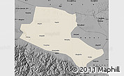 Shaded Relief Map of Jiuquan, darken, desaturated