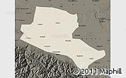 Shaded Relief Map of Jiuquan, darken