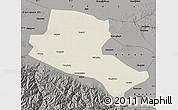 Shaded Relief Map of Jiuquan, darken, semi-desaturated