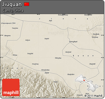 Shaded Relief Map of Jiuquan