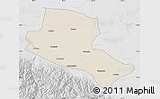 Shaded Relief Map of Jiuquan, lighten, desaturated