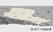 Shaded Relief Panoramic Map of Jiuquan, darken, desaturated