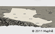 Shaded Relief Panoramic Map of Jiuquan, darken