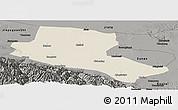 Shaded Relief Panoramic Map of Jiuquan, darken, semi-desaturated