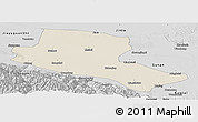 Shaded Relief Panoramic Map of Jiuquan, desaturated