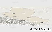 Shaded Relief Panoramic Map of Jiuquan, lighten