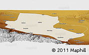 Shaded Relief Panoramic Map of Jiuquan, physical outside