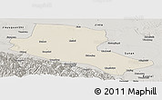 Shaded Relief Panoramic Map of Jiuquan, semi-desaturated
