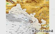 Shaded Relief Map of Gansu, physical outside