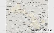 Shaded Relief Map of Gansu, semi-desaturated