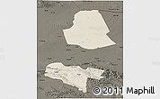 Shaded Relief 3D Map of Subei, darken