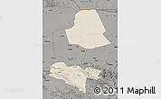 Shaded Relief Map of Subei, darken, semi-desaturated
