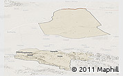 Shaded Relief Panoramic Map of Subei, lighten