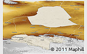 Shaded Relief Panoramic Map of Subei, physical outside