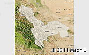 Shaded Relief Map of Tianzhu, satellite outside