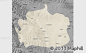 Shaded Relief Map of Yongdeng, darken, desaturated