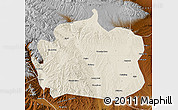 Shaded Relief Map of Yongdeng, physical outside