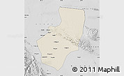 Shaded Relief Map of Zhangye, desaturated