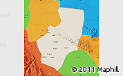 Shaded Relief Map of Zhangye, political outside