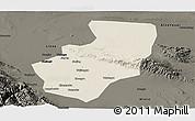 Shaded Relief Panoramic Map of Zhangye, darken