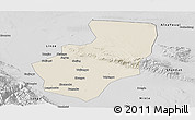 Shaded Relief Panoramic Map of Zhangye, desaturated