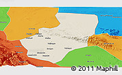 Shaded Relief Panoramic Map of Zhangye, political outside