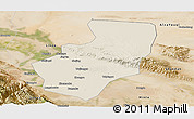 Shaded Relief Panoramic Map of Zhangye, satellite outside