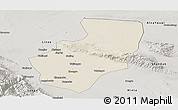 Shaded Relief Panoramic Map of Zhangye, semi-desaturated