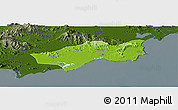 Physical Panoramic Map of Huilai, darken