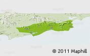 Physical Panoramic Map of Huilai, lighten