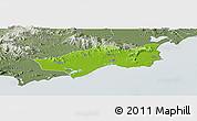 Physical Panoramic Map of Huilai, semi-desaturated