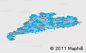 Political Shades Panoramic Map of Guangdong, cropped outside