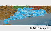 Political Shades Panoramic Map of Guangdong, darken