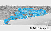 Political Shades Panoramic Map of Guangdong, desaturated