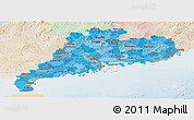 Political Shades Panoramic Map of Guangdong, lighten