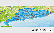Political Shades Panoramic Map of Guangdong, physical outside
