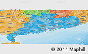 Political Shades Panoramic Map of Guangdong