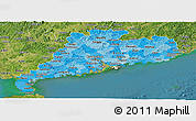 Political Shades Panoramic Map of Guangdong, satellite outside