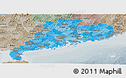 Political Shades Panoramic Map of Guangdong, semi-desaturated
