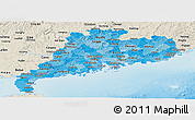 Political Shades Panoramic Map of Guangdong, shaded relief outside