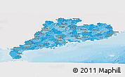 Political Shades Panoramic Map of Guangdong, single color outside