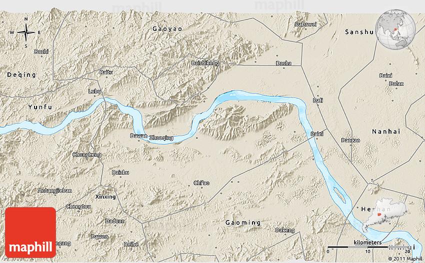Shaded Relief D Map Of Zhaoqing Shi - Zhaoqing map