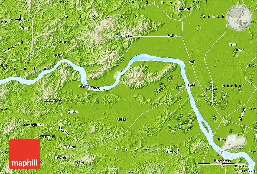 Physical Map Of Zhaoqing Shi - Zhaoqing map