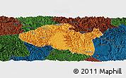 Political Panoramic Map of Bama, darken