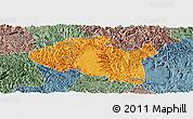 Political Panoramic Map of Bama, semi-desaturated