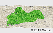 Political Panoramic Map of Bose, shaded relief outside