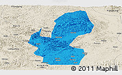 Political Panoramic Map of Chongzuo, shaded relief outside