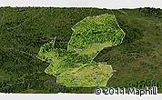Satellite Panoramic Map of Chongzuo, darken