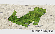 Satellite Panoramic Map of Daxin, shaded relief outside