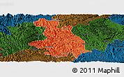 Political Panoramic Map of Donglan, darken